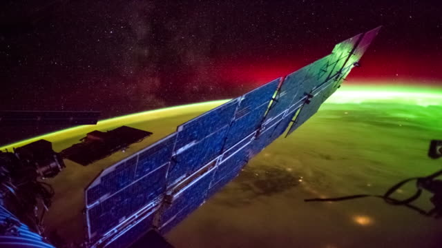 aurora over the earth seen from iss - radio telescope stock videos & royalty-free footage