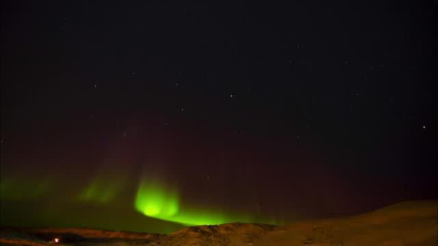 Aurora Polaris at Northern glacier area of Canada