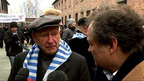 auschwitz 70th anniversary of liberation: holocaust memorial ceremony; poland: auschwitz: ext various shots auschwitz concentation camp survivors... - survival stock videos & royalty-free footage