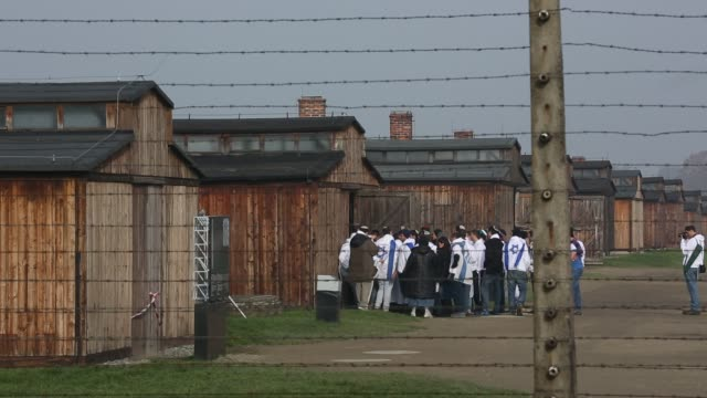 auschwitz ii birkenau extermination camp on november 15 2014 in oswiecim poland ceremonies marking the 70th anniversary of the liberation of the camp... - israelite stock videos & royalty-free footage