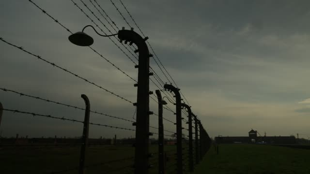 auschwitz ii birkenau extermination camp on november 15, 2014 in oswiecim, poland. ceremonies marking the 70th anniversary of the liberation of the... - 70周年点の映像素材/bロール
