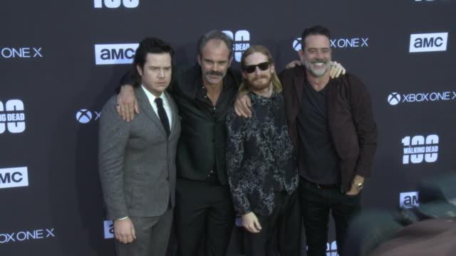 Austin Amelio Josh McDermitt Steven Ogg and Jeffrey Dean Morgan at the AMC's The Walking Dead 100th Episode Season 8 Special Premiere Screening at...
