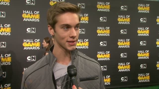 interview austin north on the event and on his favorite sports at cartoon network hosts fourth annual hall of game awards at barker hangar on... - barker hangar stock-videos und b-roll-filmmaterial