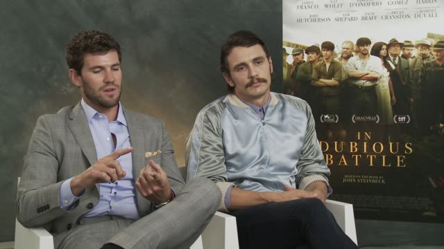 INTERVIEW Austin Stowell on the theme of the film at 'In Dubious Battle' Interview 73rd Venice Film Festival at Palazzo del Cinema on September 04...