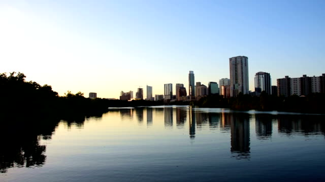 Austin Texas centrum Colorado rivier Riverside Town Lake reflecties Skyline stadsgezicht Centraal Texas hoofdstad stad