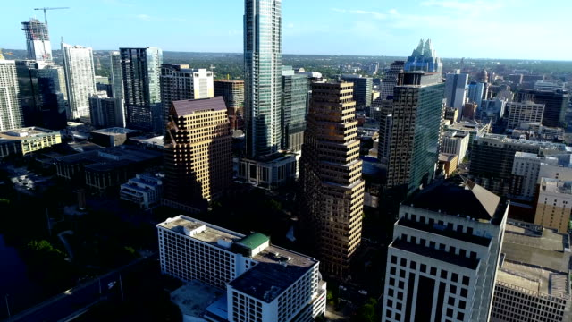 Austin Texas Skyline Cityscape aerial drone view Morning Sunshine Aerial drone view next to Downtown Skyscarpers looking down from above