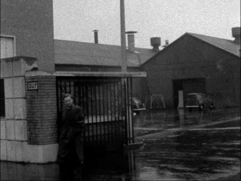 austin workers at longbridge sent home england west midlands birmingham longbridge plant exterior of austin motor works longbridge gate of works men... - longbridge stock videos & royalty-free footage