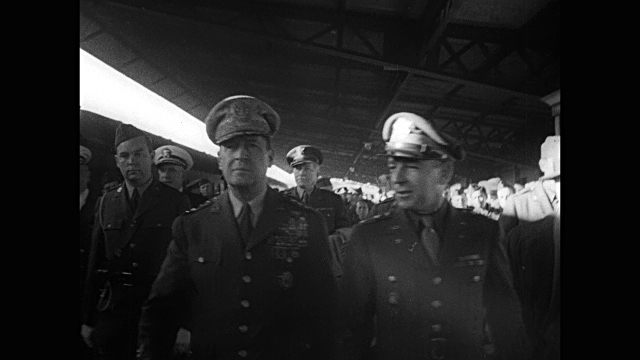 ws australia bow of motor boat with american flag traveling fast macarthur in australia vs recalled us general macarthur in uniform walking with... - general macarthur stock videos and b-roll footage