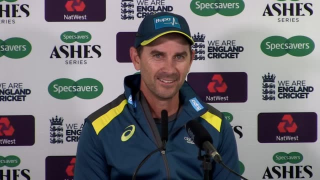 australia coach justin langer hold a press conference ahead of the start of the ashes langer believes a return for cameron bancroft would be a great... - thursday stock videos and b-roll footage