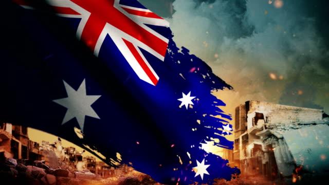 vídeos de stock, filmes e b-roll de 4k austrália bandeira - crise / guerra / fire (loop) - cultura australiana