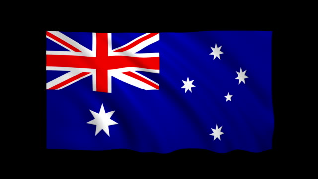 Australia Flag Loopable alpha included - Stock video