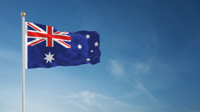 4k australia flag - loopable - pole stock videos & royalty-free footage