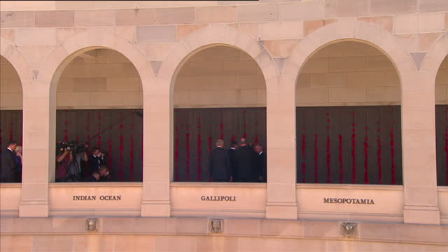 australia g20 summit canberra war memorial exterior shots of british prime minister david cameron being shown around australian war memorial escorted... - admiral nelson stock videos and b-roll footage