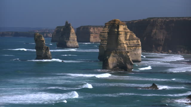 australia great ocean road 12 apostles morning distant sea stacks - great ocean road stock videos & royalty-free footage