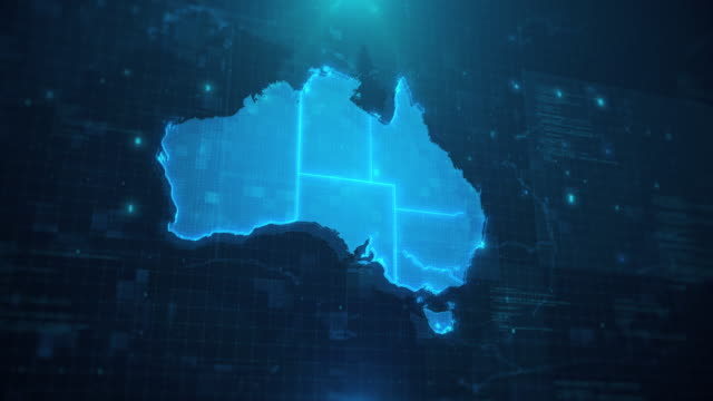 australia map against blue animated background 4k uhd - map stock videos & royalty-free footage