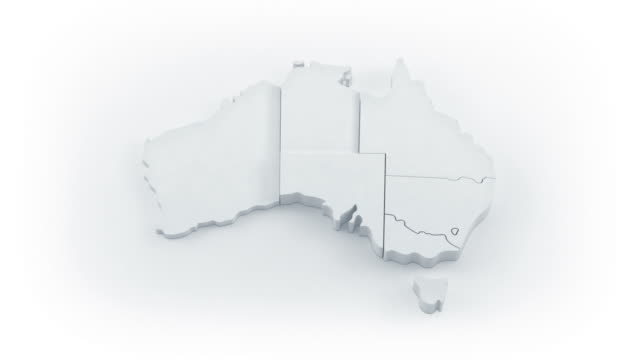 australia map by states. white version. - geographical locations stock videos & royalty-free footage