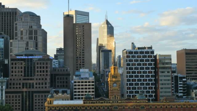 Australia Melbourne evening light on skyscraper