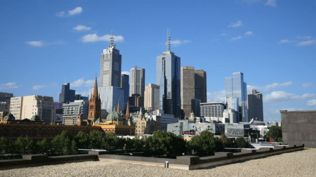 australia melbourne skyline viewed from hotel - tower stock videos & royalty-free footage