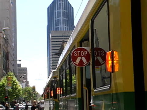 australia: melbourne tram stopped - tram stock videos & royalty-free footage