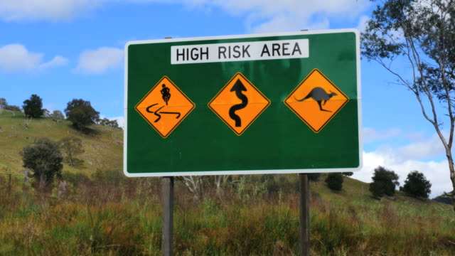 australia murray river road high risk sign - animal crossing sign stock videos & royalty-free footage