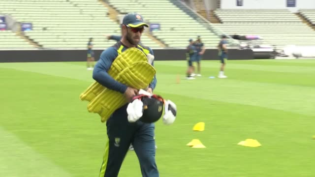 australia practice at edgbaston ahead of thursday's cricket world cup semifinal against england includes shots of injury doubt marcus stoinis - thursday stock videos and b-roll footage