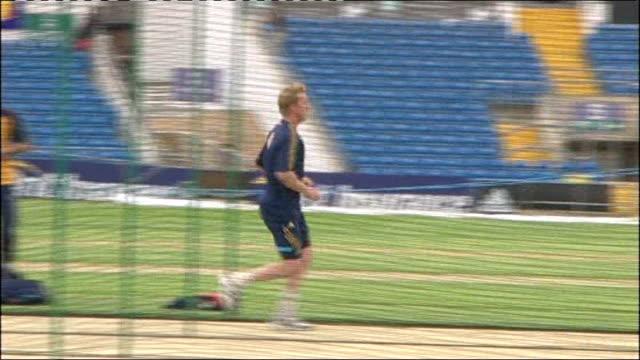 Australia practicing at Headingley ENGLAND Yorkshire Leeds Headingley EXT Brett Lee running up to bowl / Australian batsmen practicing in nets / More...