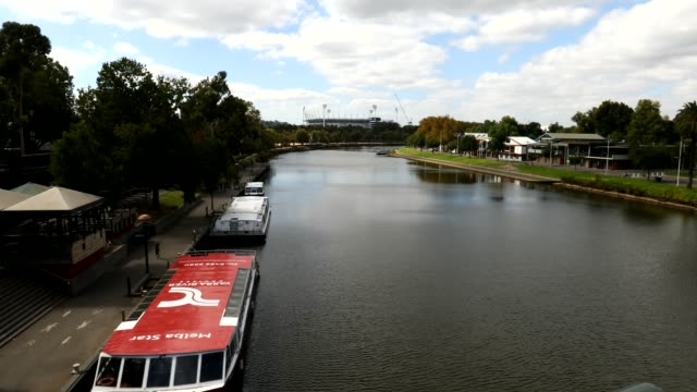australia - river cruise boats are seen moored along the yarra river - strict restrictions in place for australians as number of confirmed... - tattoo stock videos & royalty-free footage