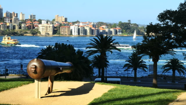 Australia Sydney cannon and harbor view