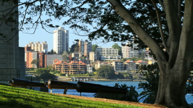 Australia Sydney cannons overlooking harbor