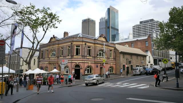 Australia Sydney corner with people in street