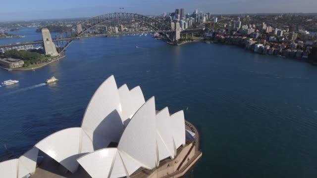 australia sydney drone aerial - opera house stock videos & royalty-free footage