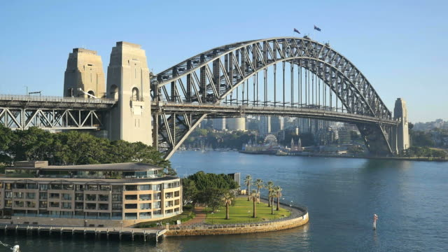 australia sydney harbour bridge with hotel - establishing shot stock videos & royalty-free footage