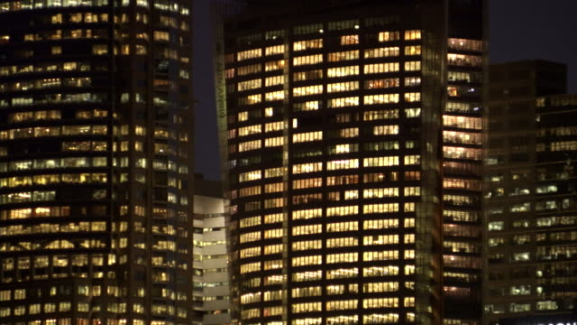 CU, Australia, Sydney, Illuminated office buildings at night