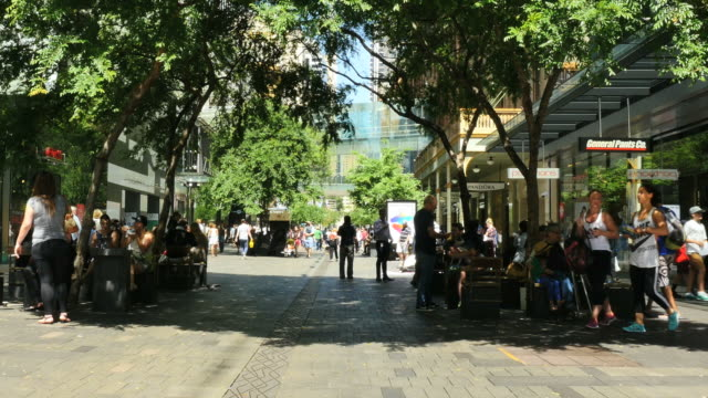 australia sydney mall and people under shade trees pan - shopping centre stock videos & royalty-free footage