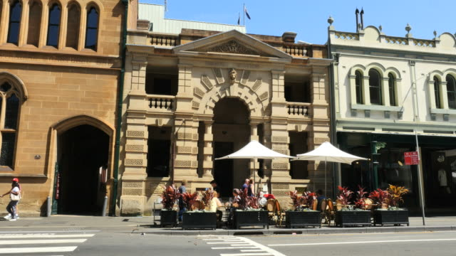 Australia Sydney old building with umbrellas