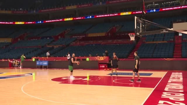australia train ahead of their quarter final match against france at the basketball world cup - nanjing stock videos & royalty-free footage