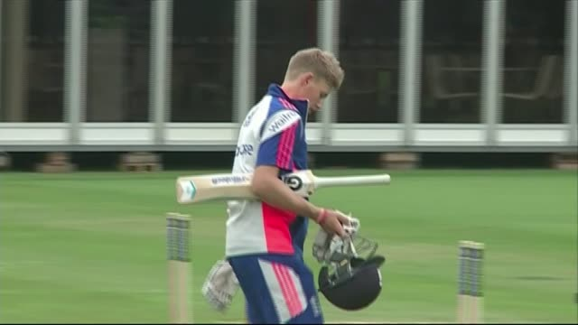 Australia training at Lord's for Ashes test series Team resting and changing / Anderson / Joe Root along to nets / players gathered and clapping /...