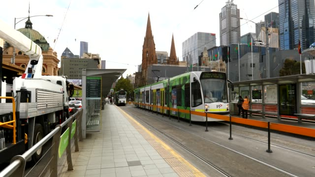 australia - tram stop - strict restrictions in place for australians as number of confirmed coronavirus cases climb on march 26, 2020 in melbourne,... - tattoo stock videos & royalty-free footage