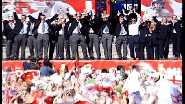 england lose fifth test file / r13090516 england london trafalgar square ext england cricket team celebrating in trafalgar square following their... - test cricket stock videos & royalty-free footage