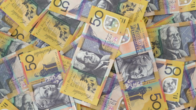 australian $50 notes on turntable - top down 4k - pension stock videos & royalty-free footage