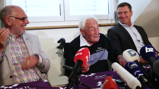 Australian botanist and academic David Goodall who is 104 years old speaks at a press conference as Philip Nitschke of Exit International and Moritz...