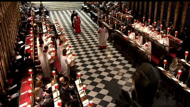 australian bushfire memorial service at westminster abbey; memorial service in progress, choir singing sot - choir stock videos & royalty-free footage