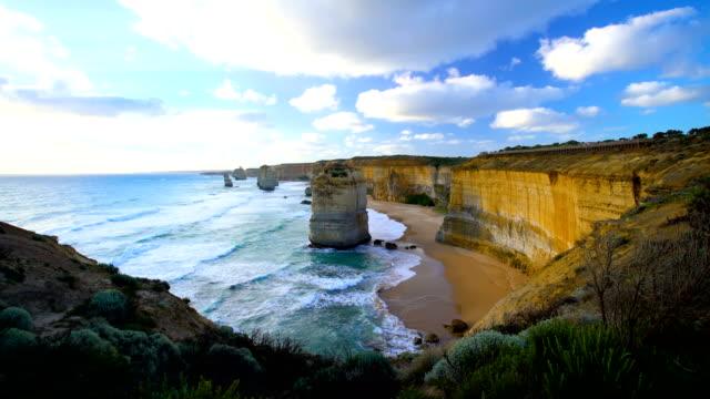 Australian coastline limestone cliffs Twelve Apostle rock stacks