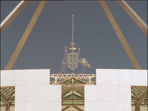 Australian crest of Kangaroo and an Emu atop Parliament building Canberra