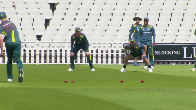 australian cricket team training at edgbaston before the start of the ashes - cricket stock videos & royalty-free footage