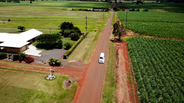 Australian crops in line formations. Aerial view of farm