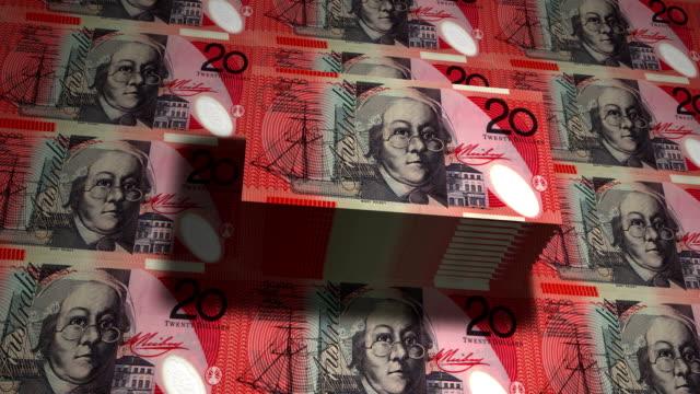vidéos et rushes de 20 dollars australiens printing - animation - établissement financier