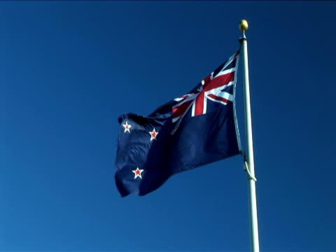 MS, Australian flag flapping against clear sky