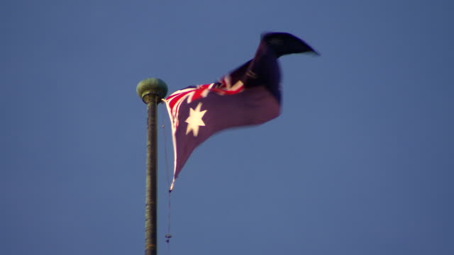 ms australian flag fluttering / castlemaine, victoria, australia - pole stock videos & royalty-free footage