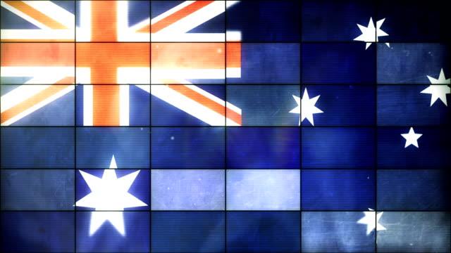 vidéos et rushes de drapeau australien-grid panneaux loop (full hd) - télévision haute définition